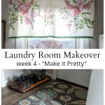 Lilac curtain and floral rug in laundry makeover