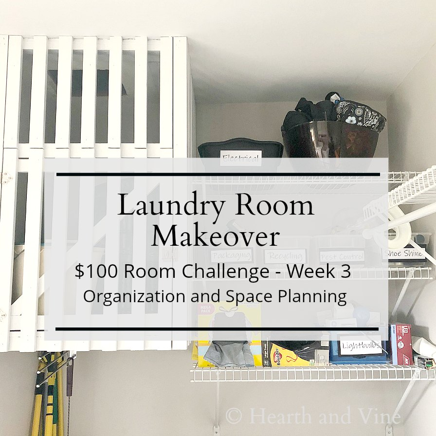 Laundry shelves and cabinet with text overlay