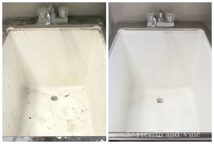 Laundry room tub before and after cleaning