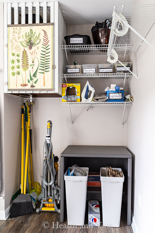 Budget laundry room makeover nook area