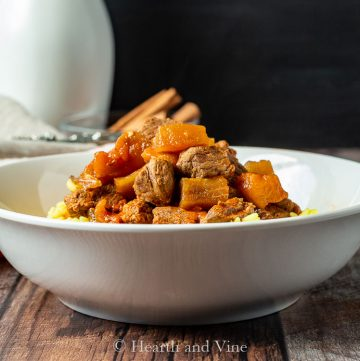 Beef and eggplant stew on rice