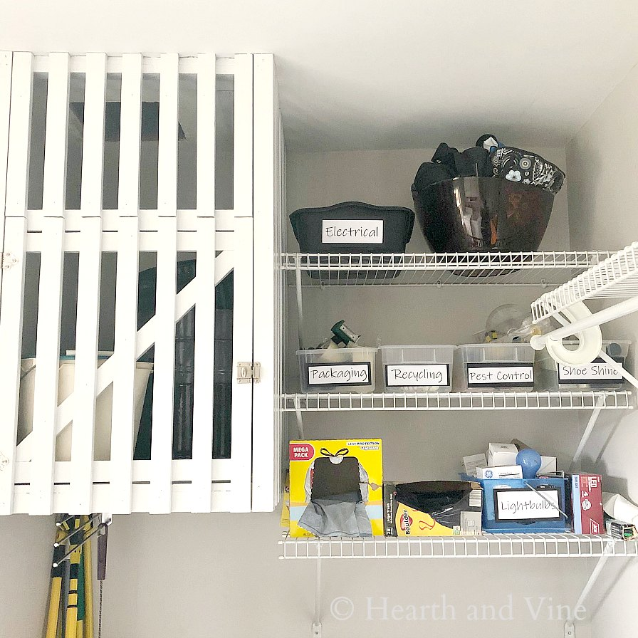 Laundry room organizing ideas for chute cabinet and shelves