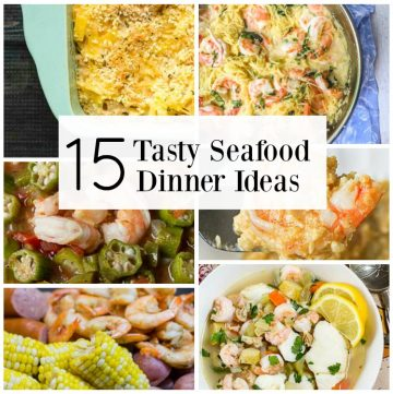 Seafood dinner collage