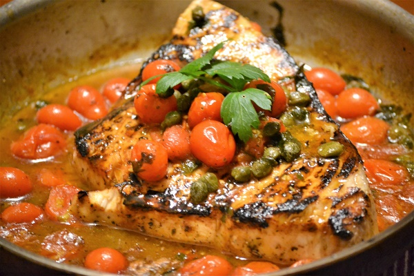Pan Roasted Swordfish with Cherry Tomatoes