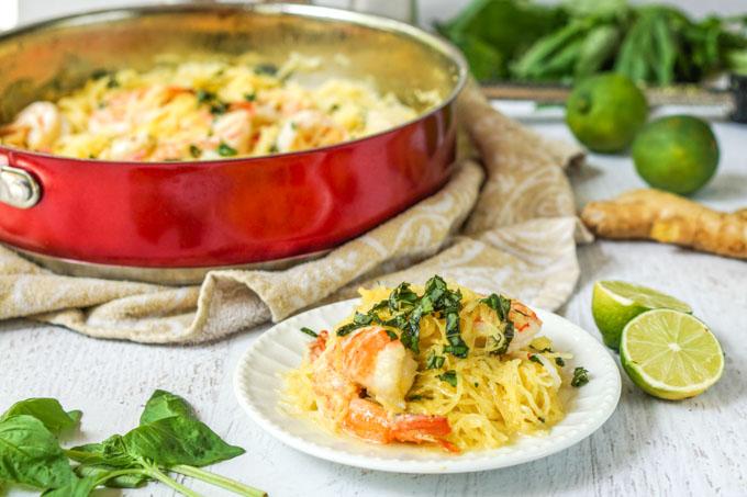 Coconut Basil Shrimp Spaghetti Squash - delicious low carb, gluten free pasta dish