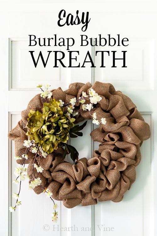 Burlap Bubble wreath on white door