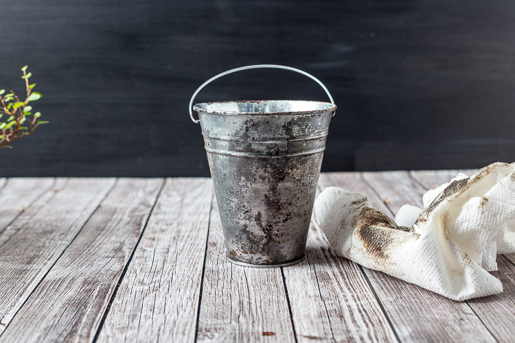 Galvanized pot with aged patina