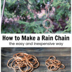 Copper rain chain hanging on hook and rings below