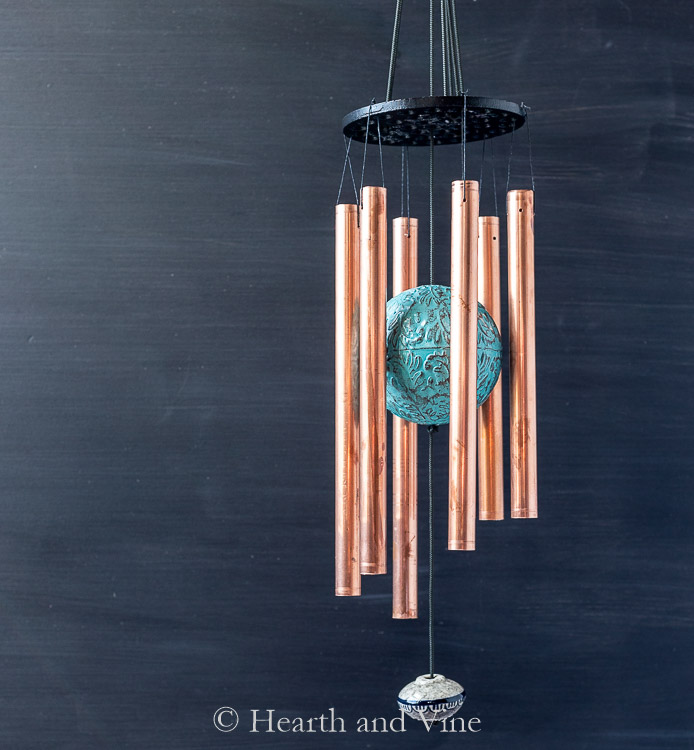 Homemade copper pipe wind chimes