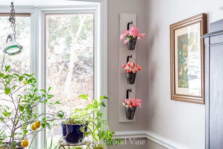 DIY wall planter with faux tulips