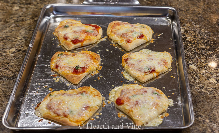 Mini heart shaped pizzas from the oven.