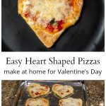 Single heart shaped pizza above text with a pan of pizzas below