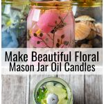 Group of mason jar oil candles for spring