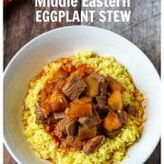 Eggplant and beef stew over rice