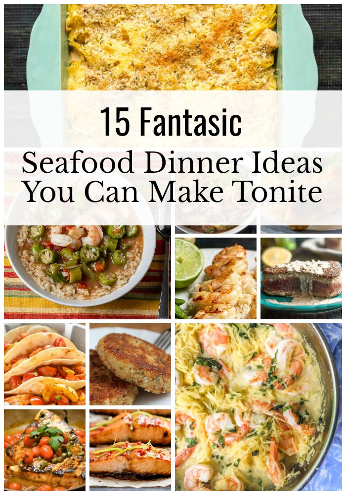 Seafood dinner ideas collage