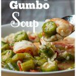 Bowl of shrimp gumbo soup