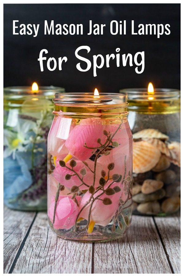 Trio of floral mason jar oil lamps for spring