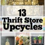 Collage of thrift store upcycle projects