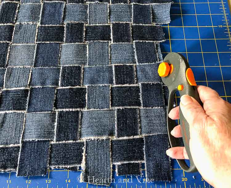 Trimming excess fabric