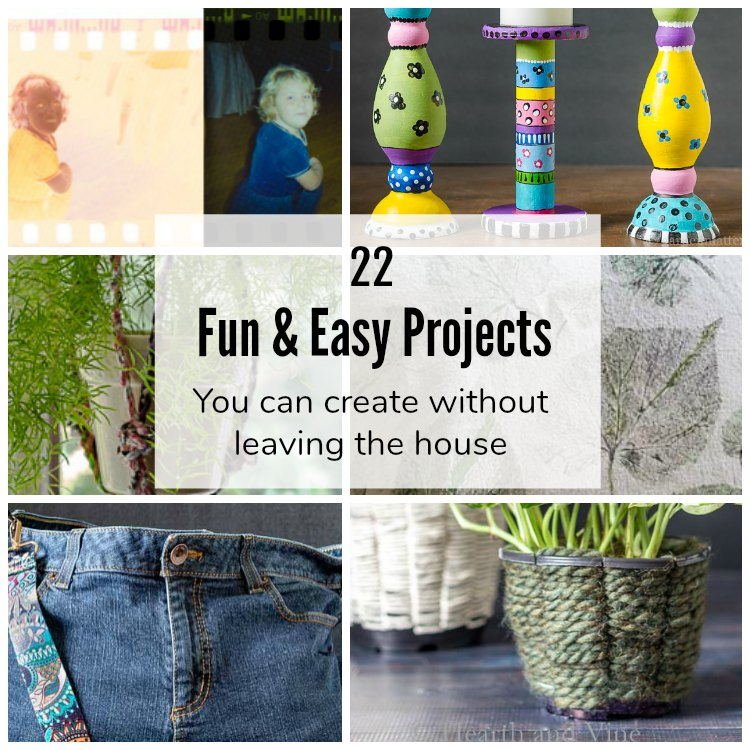 Collage of easy projects to make at home