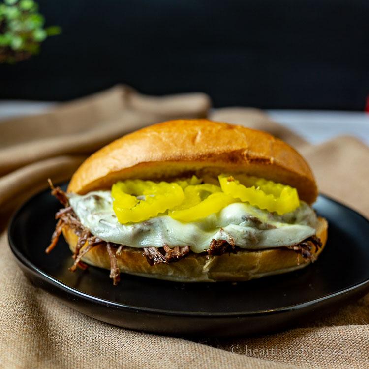 Slow cooker Italian beef sandwich