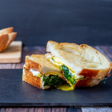 Sliced breakfast grilled cheese sandwich
