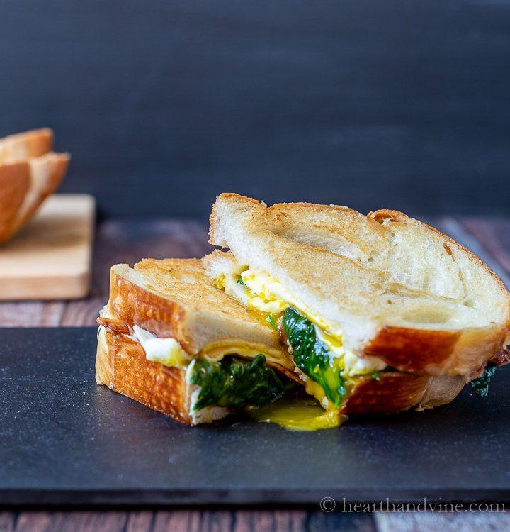Sliced breakfast grilled cheese sandwich