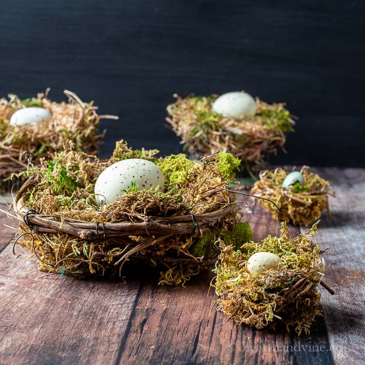 Handmade bird nests with eggs