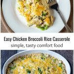 Chicken broccoli rice casserole serving and dish