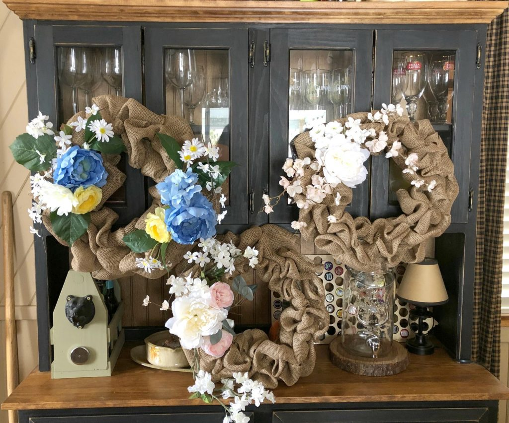 Three burlap wreaths
