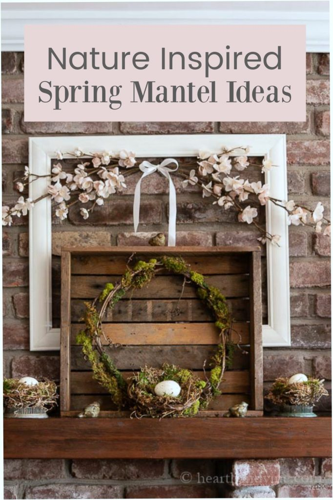 Spring mantel decorations with bird nests and moss wreath