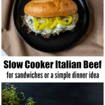 Top and side view of slow cooker Italian beef sandwiches