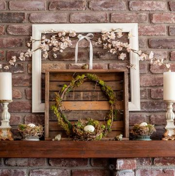 Spring mantel with bird nests and moss