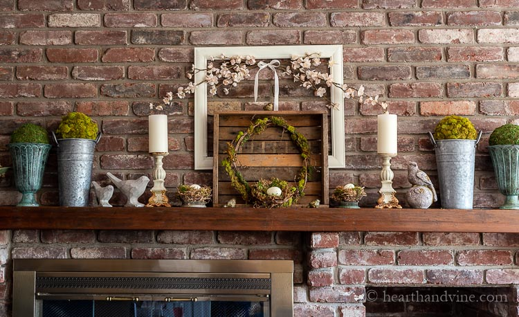 Spring mantel decorated