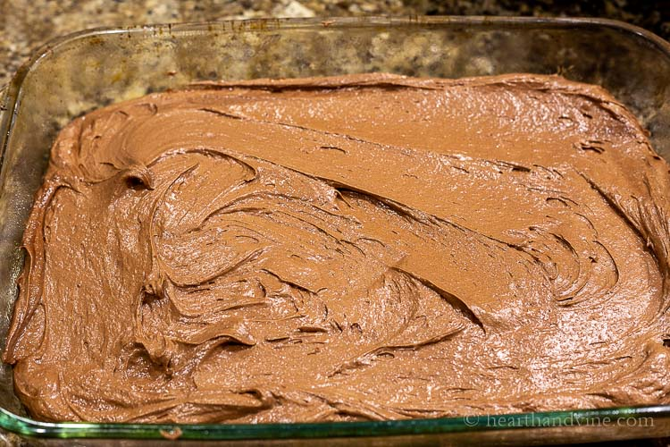 Brownie batter in baking dish