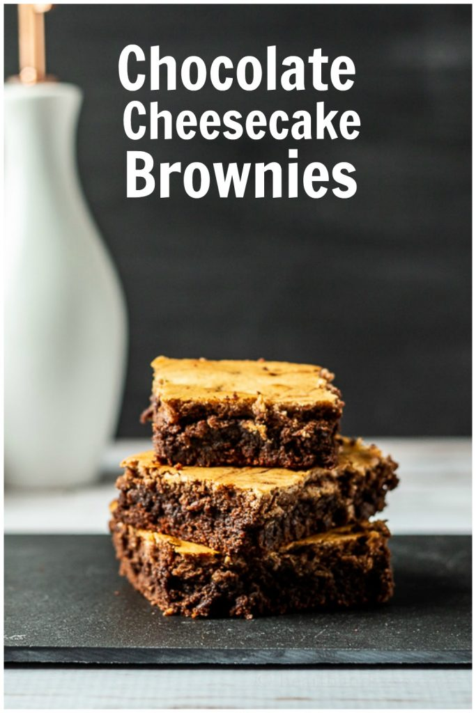 Chocolate cheesecake brownies stacked