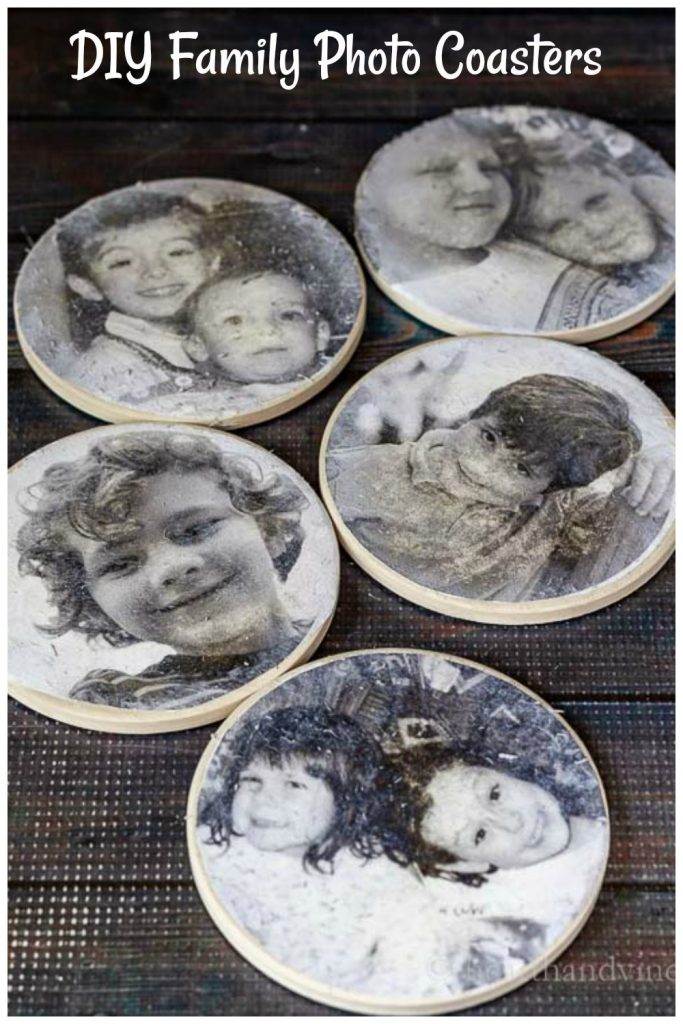 Five coasters with family photos