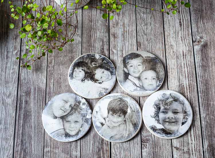 All five cousin photo coasters