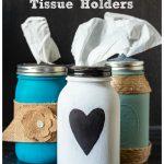 Three different mason jar tissue holders