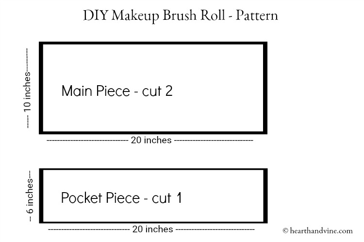 Makeup brush roll bag pattern