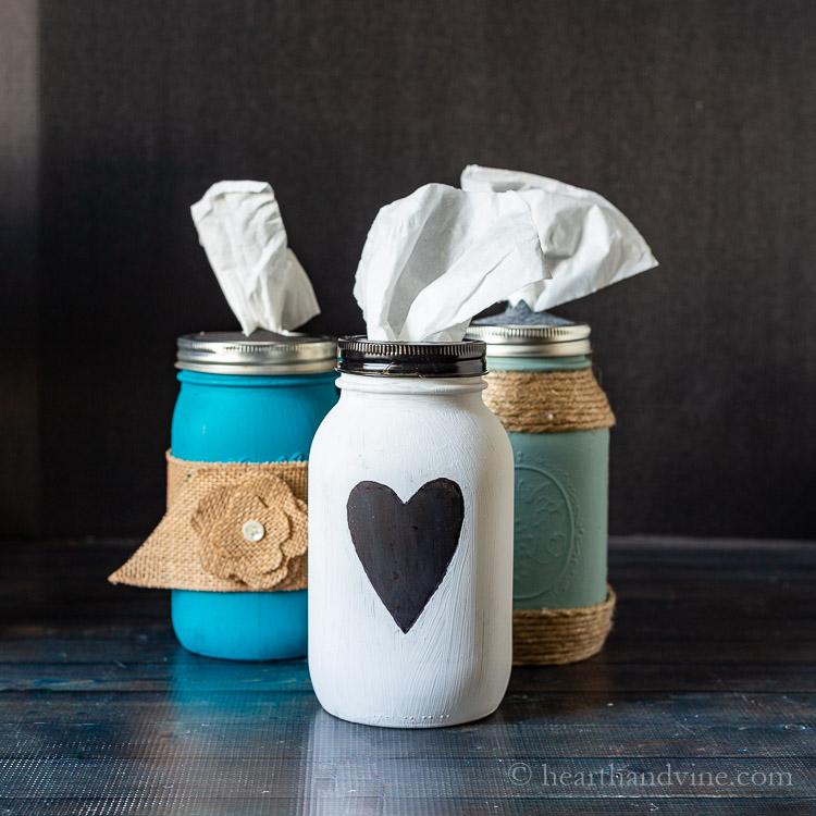 Three mason jar tissue holders
