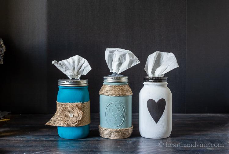 Trio of mason jar tissue holders