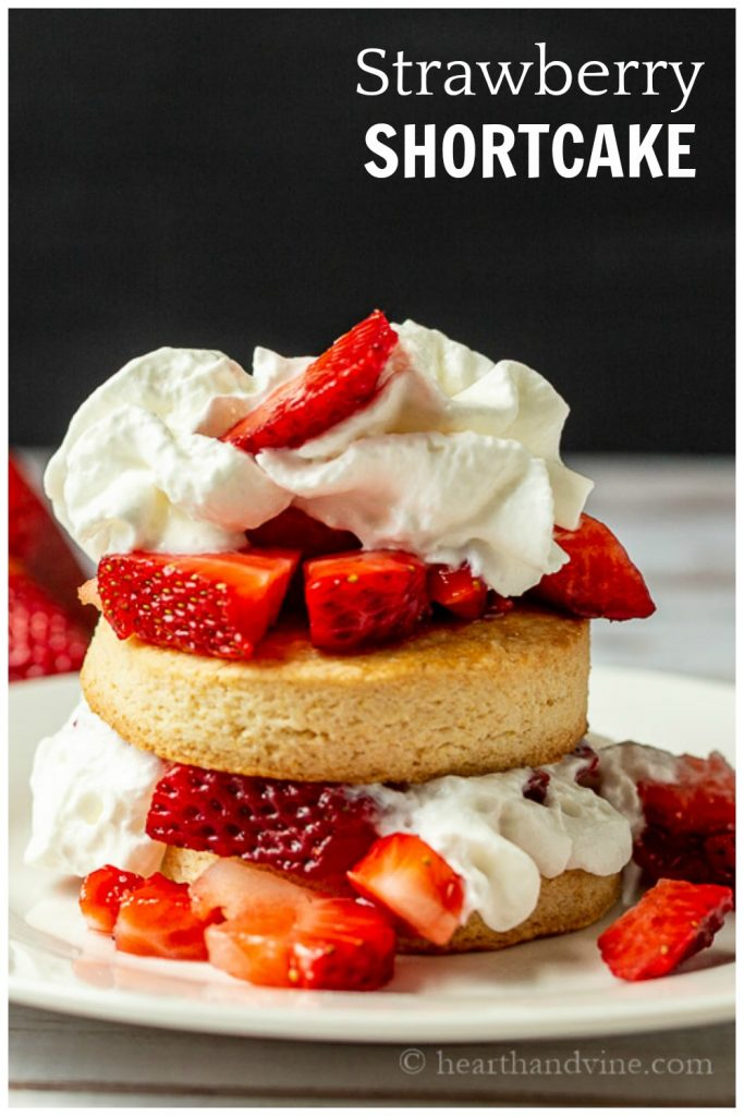 Stack of strawberry shortcakes