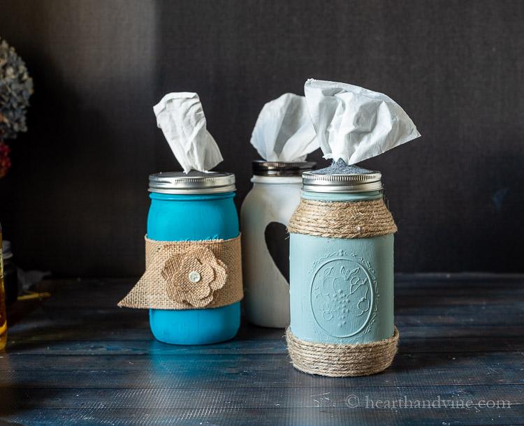 Aqua jar with jute wrap on top and bottom