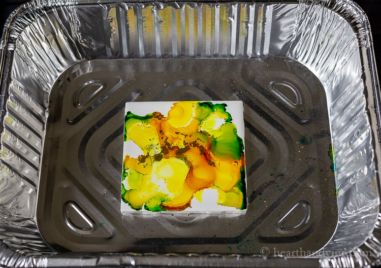 Fired Alcohol Ink Tile in yellow and green
