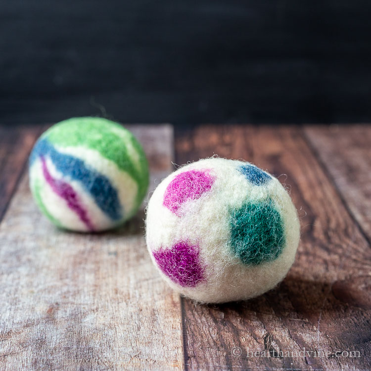 Colorful wool dryer balls