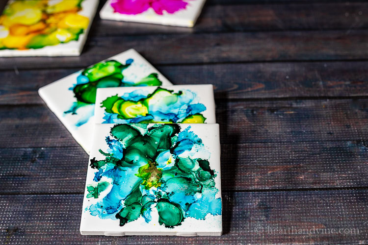 Fired Alcohol Ink Tiles in blues and greens