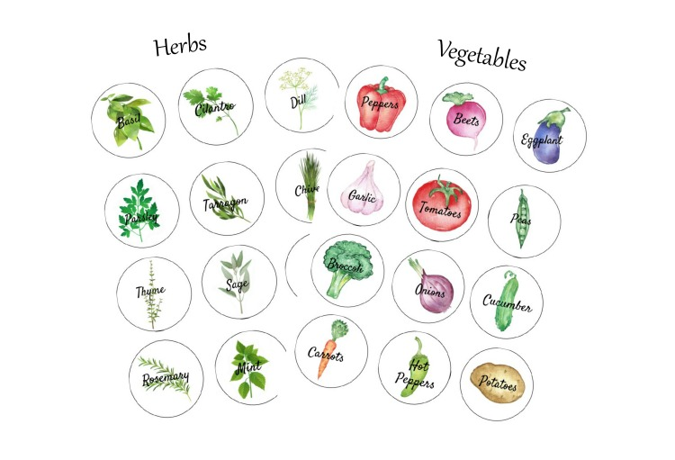 Herb and vegetable round label printables