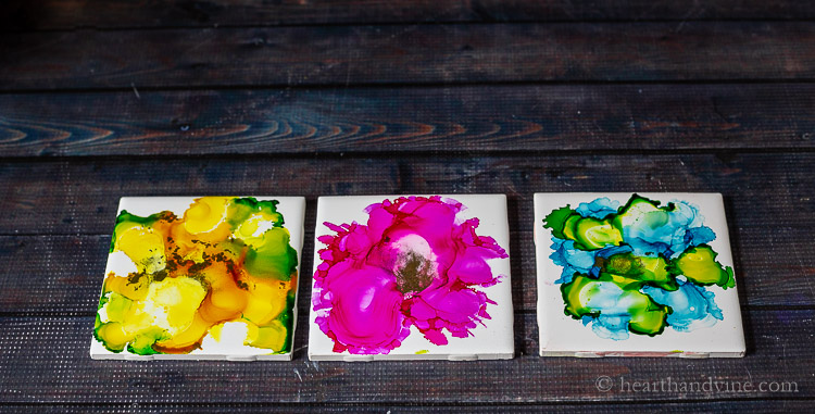 Fired Alcohol Ink Tiles