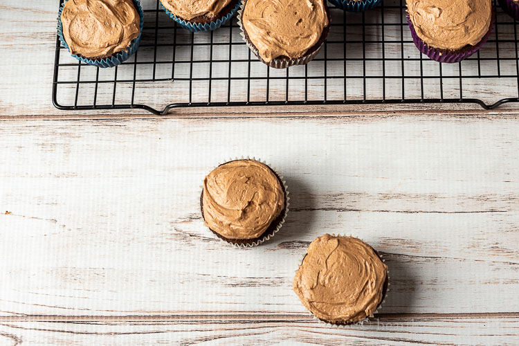 Two chocolate cupcake with chocolate frosting